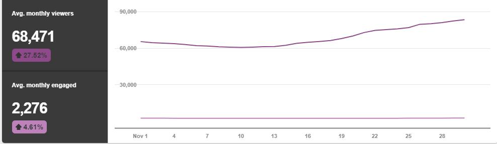 Average Monthly Pinterest Viewers Nov